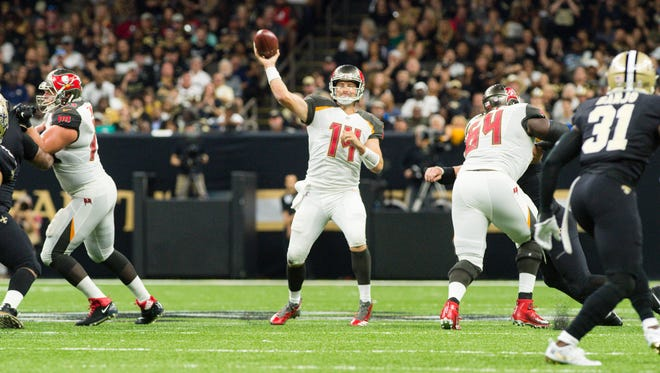 Tampa Bay quarterback Ryan Fitzpatrick accounted for five touchdowns in the 48-40 win over New Orleans.