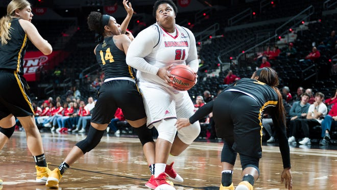 UL's Nekia Jones drives to the basket during the Cajuns' 61-45 win over Appalachian State on Thursday at the Cajundome.