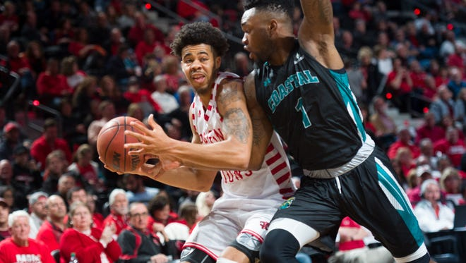 UL's Malik Marquetti drives to the basket during his 17-point, three-rebound performance in Saturday's win over Coastal Carolina on Saturday.