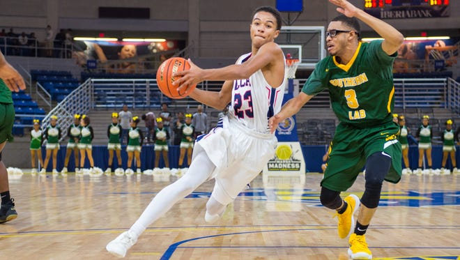 LCA's Kailen Thibodeaux, shown here during the Knights' semifinals win over Southern Lab, became the first signee in the history of LSU Eunice's basketball program on Wednesday.