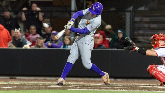 """Antoine Duplantis at the plate as The Louisiana Ragin' Cajuns take on LSU baseball at M.L. """"Tigue"""" Moore Field at Russo Park. Wednesday, March 7, 2018."""