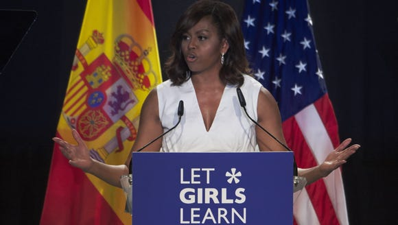 First Lady Michelle Obama attends the presentation