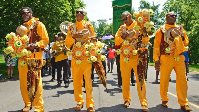 CHICAGO, IL - JUNE 11:  The Treme Brass Band performs at the National Park Service Centennial Event at Washington Park on June 11, 2016 in Chicago, Illinois.  (Photo by Timothy Hiatt/Getty Images for the National Park Foundation)