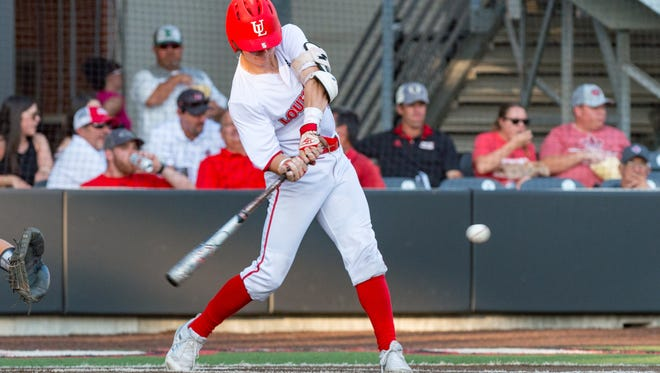 UL's Hayden Cantrelle takes a swing during the Cajuns' 4-3 win in 10 innings over ULM on Thursday.