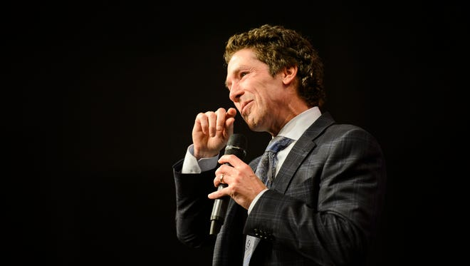 Joel Osteen speaks during the installation of pastors service at Relentless Church on Sunday, June 3, 2018.