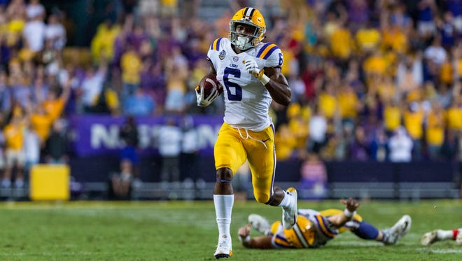Tigers wide receiver Terrace Marshall Jr. runs the ball as LSU takes on Ole Miss at Tiger Stadium. Saturday, Sept. 29, 2018.
