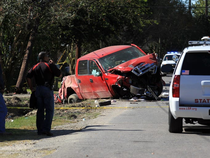 Police respond to the scene after a driver struck and
