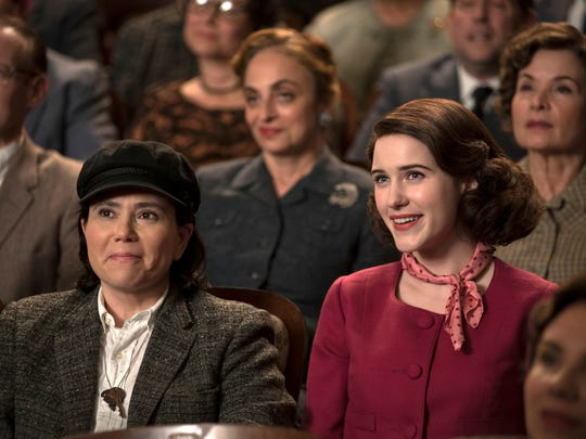 "Alex Borstein and Rachel Brosnahan in ""The Marvelous Mrs. Maisel."""
