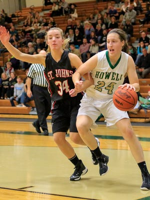 Leah Weslock scored 15 points for Howell in its narrow win over Waterford Mott in the KLAA Association Tournament on Tuesday night.