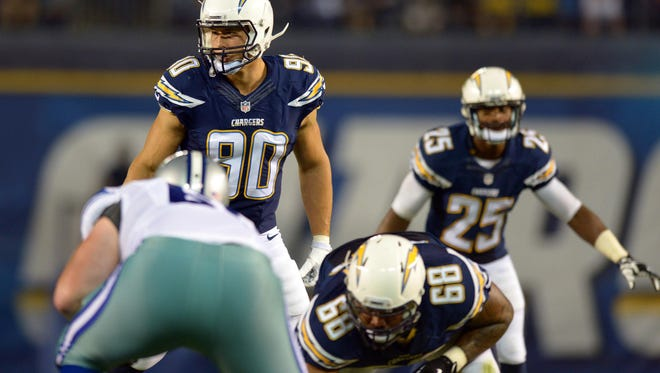 Aug 7, 2014: San Diego Chargers outside linebacker Thomas Keiser (90) during the third quarter against the Dallas Cowboys at Qualcomm Stadium.