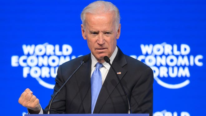 Vice President Biden gestures during his speech at the World Economic Forum (WEF) annual meeting in Davos, Jan. 20, 2016.