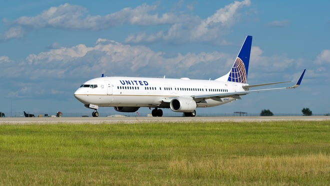 A United Airlines jet on the ground