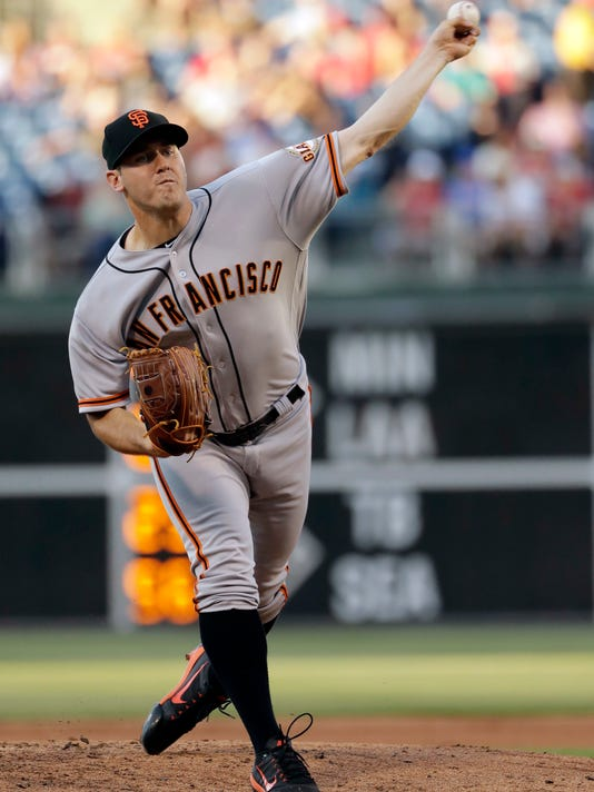 San Francisco Giants' Ty Blach pitches during the first inning of the team's baseball game against the Philadelphia Phillies, Friday, June 2, 2017, in Philadelphia. (AP Photo/Matt Slocum)