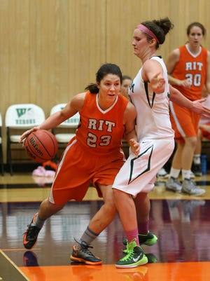 RIT's Merissa Maiorano drives along the baseline at William Smith College. Merissa, has battled to overcome anorexia.