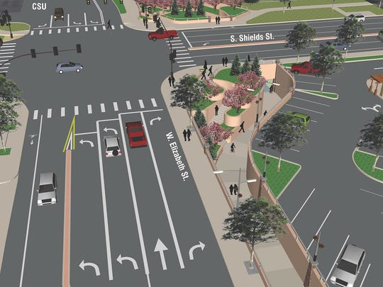 A rendering of what the intersection of Shields and Elizabeth streets would look like after construction of an underpass.