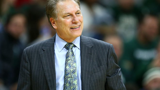 Michigan State Spartans head coach Tom Izzo questions a call during the 2nd half of a game at the Jack Breslin Student Events Center.
