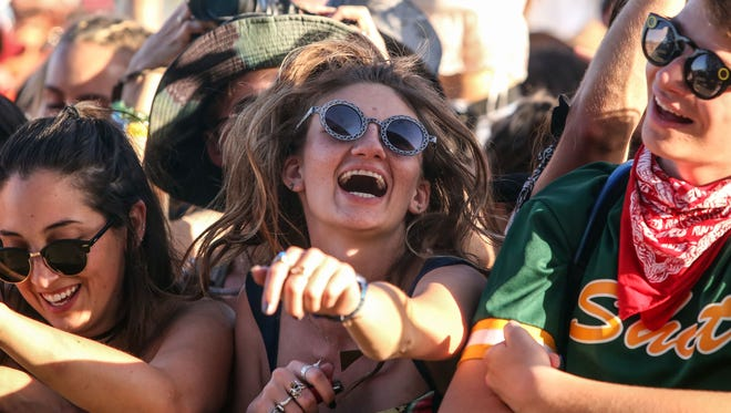 Apr 14, 2017; Indio, CA, USA; Fans watch Glass Animals perform during the Coachella Valley Music and Arts Festival at Empire Polo Club. Mandatory Credit: Richard Lui/The Desert Sun via USA TODAY NETWORK