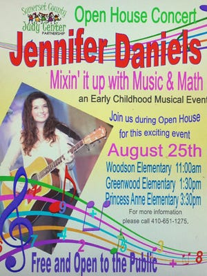 This graphic announces Aug. 25, 2016 concerts by music educator Jennifer Daniels at Woodson, Greenwood and Princess Anne elementary schools in Somerset County.