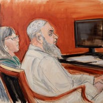 This courtroom sketch shows Khaled al-Fawwaz, right, in Jan. 2015 during jury selection for his conspiracy trial in the 1998 bombings of  U.S. embassies in Kenya and Tanzania that killed 224 people.