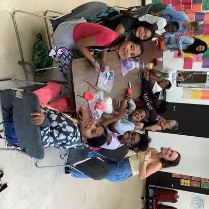 Students take part in the knitting elective at 11 Pine