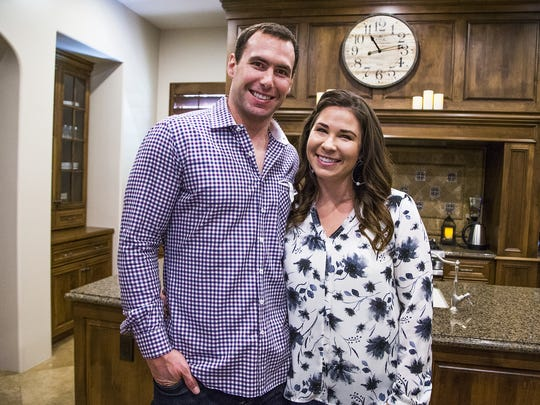 Paul and Amy Goldschmidt relax at home in Scottsdale, Monday, October 3, 2016.