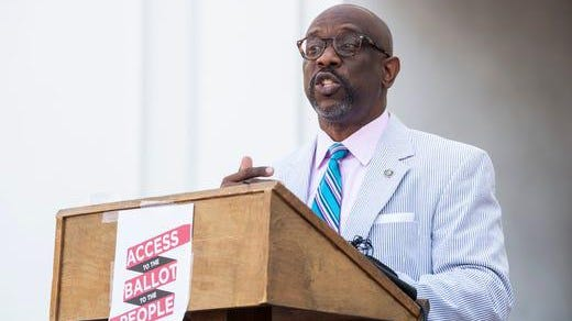 Rep. Kirk Hatcher speaks during a press conference on voting access amid the coronavirus pandemic outside the Alabama State House in Montgomery, Ala., on Thursday, June 18, 2020.