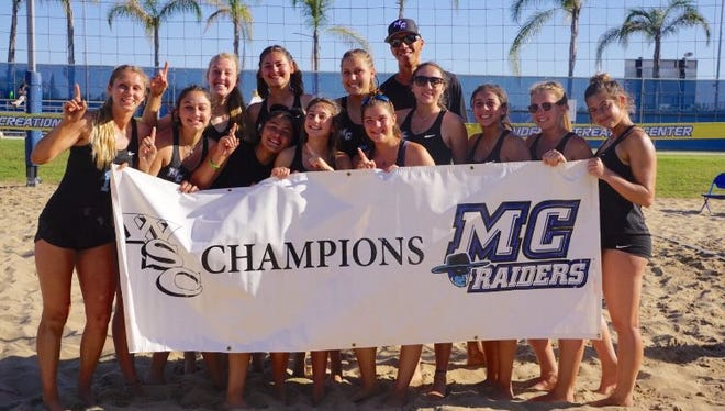 The Moorpark College women's beach volleyball team won the Western State Conference in its inaugural season.