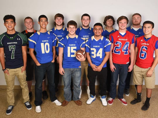 Offensive football players of the year, from left, Elijah Sapico, Damonte; Andrew Jensen, Douglas; Grayson Young, Reed; Parker Houston, Reed; Matt Denn, Reed; Cody DeHaan, Reed; Jorden Carter, Reed; Ian Neeley, Reed; Cole Eddy, Reno; Cody Carr, Reed; and Danny Jimenez, Reno. Not pictured: Zack Teats, Manogue; Phillip Shepard, Hug; Justin Anukum, Spanish Springs; and Jake Ward, Spanish Springs.
