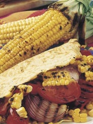 """Corn Crepes with Vegetables"" recipe found on page"