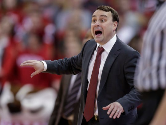 Indiana coach Archie Miller yells to his team during