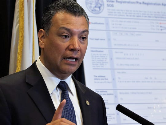 In this April 5 file photo, California Secretary of State Alex Padilla speaks in Sacramento.