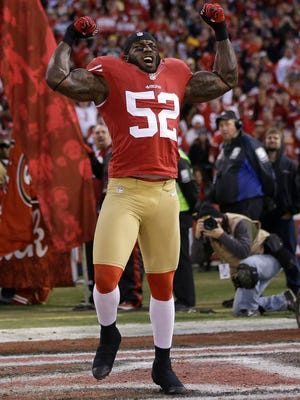 San Francisco 49ers linebacker Patrick Willis AP San Francisco 49ers linebacker Patrick Willis (52) before an NFC divisional playoff NFL football game against the Green Bay Packers in San Francisco, Saturday, Jan. 12, 2013. (AP Photo/Marcio Jose Sanchez)