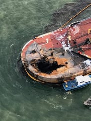 Eight crew members were on board this barge early Friday,