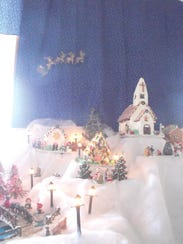 A view of Marilyn Metzger's gingerbread village with