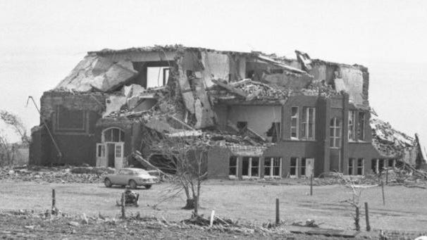 This weekend marks the 44th anniversary of the Jordan tornado. At around 3:35 p.m. on June 13, 1976, the small town of Jordan, in Boone County, was nearly wiped off the map. The F5 tornado's 200 mph winds destroyed 67 homes, 375 farm buildings, the Jordan elevator, the old Jordan School (pictured) and left a 26-mile-long path of destruction. Story City also had many destroyed buildings. Estimated damage was about $20 million. No human lives were lost. For more historical information visit www.AmesHistory.org.