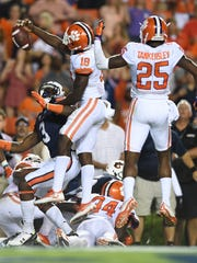 Clemson defensive back Jadar Johnson (18) knocks down a Hail Mary pass during the 4th quarter on Sept. 3, 2016 at Auburn's Jordan-Hare Stadium.