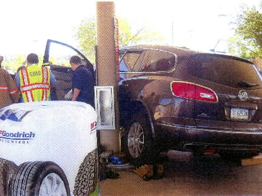 A woman struck a pedestrian, his car and a gas pump at Sam's Club in Springettsbury Township on Monday afternoon, according to Springettsbury Township Police. The woman, Betty V. Walter, 66, of Jacobus, told police she may have lost consciousness just before the crash. Photo courtesy of Springettsbury Township Police