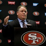 San Francisco 49ers coach Chip Kelly addresses the media during his introductory press conference last Wednesday.