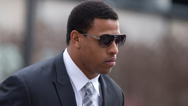 Carolina Panthers defensive end Greg Hardy arrives at the Mecklenburg County Courthouse.
