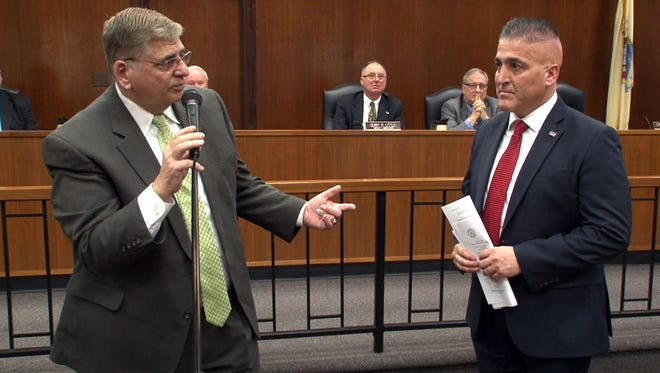 In this Asbury Park Press file photo from Jan. 6, Ocean County Sheriff Michael G. Mastronardy (left) introduces his new undersheriff, former Manchester Police Chief Brian J. Klimakowski to the Board of Freeholders.