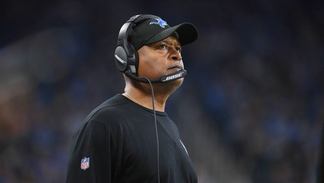 Dec 16, 2017; Detroit, MI, USA; Detroit Lions coach Jim Caldwell during the second quarter against the Chicago Bears at Ford Field.