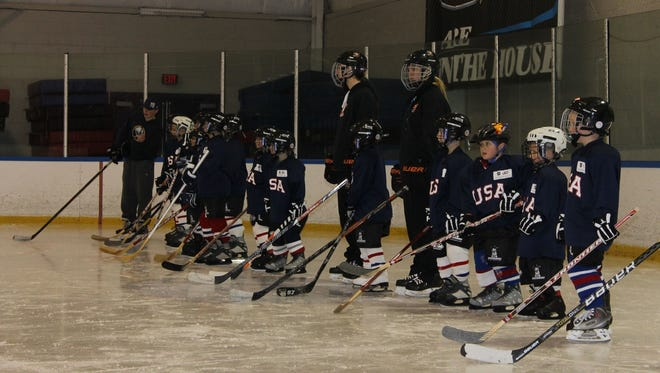 Children learn to play ice hockey at Bill Gray's Regional Iceplex. The rink is holding two free sessions in February for children ages 5 to 9 to try to sport.