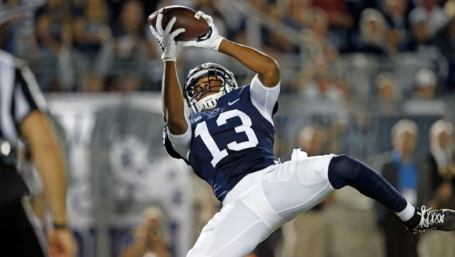 Penn State's Saeed Blacknail (13) hauls in a pass for a touchdown against Georgia State during the second half of an NCAA college football game in State College, Pa., Saturday, Sept. 16, 2017.