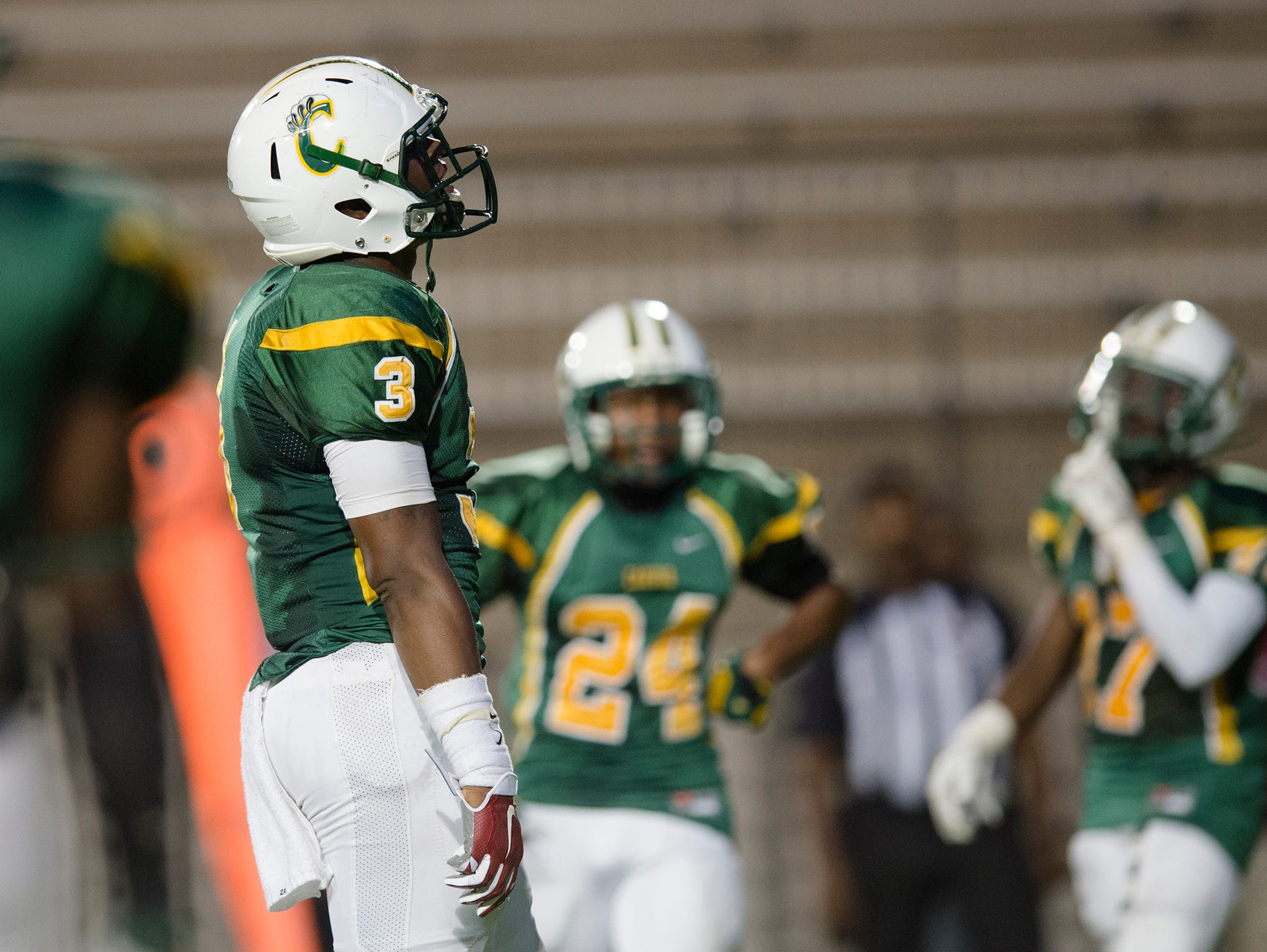 Carver linebacker Lyndell Wilson (3) reacts to a Prattville touchdown during the AHSAA football game on Friday, Sept. 25, 2015, at Cramton Bowl in Montgomery, Ala.