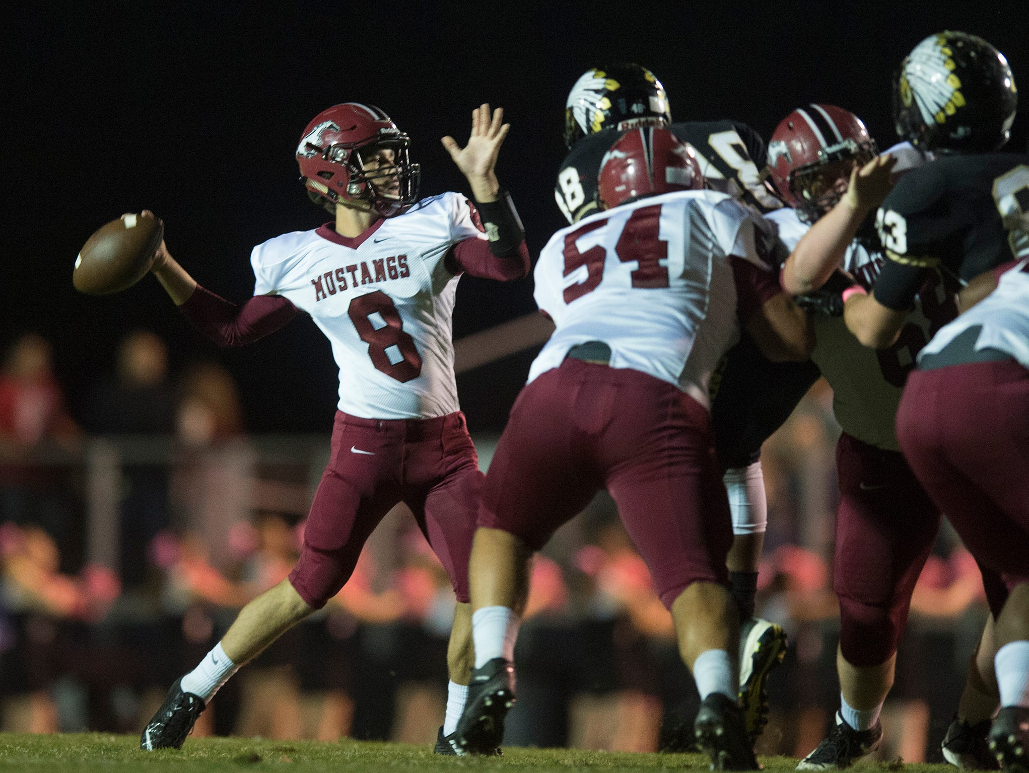 Stanhope's Tanner Anderson throws a pass during the game on Friday, Oct. 2, 2015, in Wetumpka, Ala.