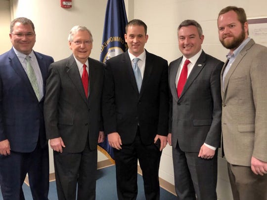"U.S. Senate Majority Leader Mitch McConnell (second from left) announced pending introduction of ""The Hemp Farming Act of 2018,"" on March 26."