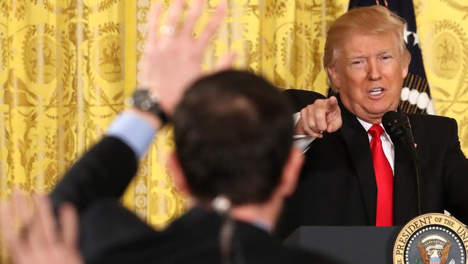 President Donald Trump speaks during a news conference announcing Alexander Acosta as the new Labor Secretary nominee in the East Room at the White House on Thursday.