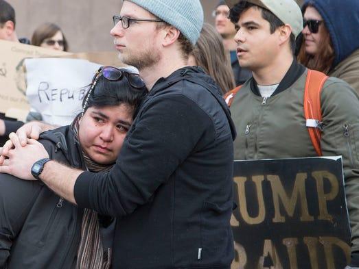 Emotions were high as several hundred demonstrators