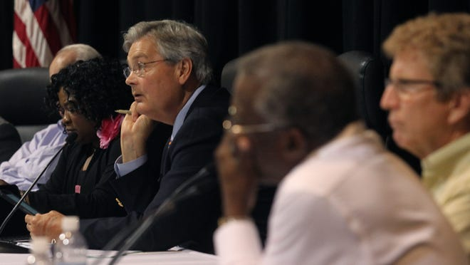 File photo: Mayor Randy Henderson, along with other coucil members, during a council meeting at Harborside Event Center.