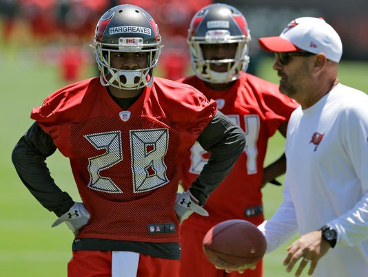 Tampa Bay Buccaneers first round draft pick Vernon Hargreaves III (28)  watches during a 5ee4b9907e4